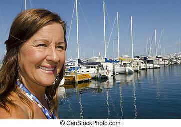 Portrait happy mature woman - Portrait of an attractive...