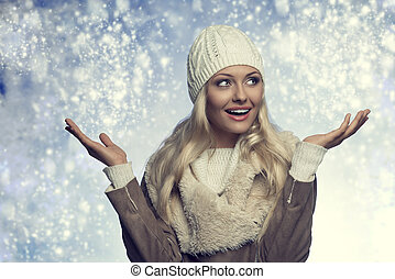 portrait happy winter woman