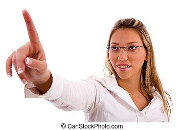 portrait, haut, pointage, femme affaires