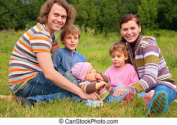 portrait, herbe, cinq, famille