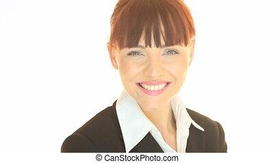portrait, heureux, femme affaires