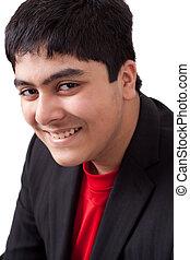portrait, heureux, indien, adolescent, est