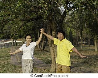 portrait, heureux, parc, famille