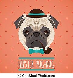 portrait, hipster, chien