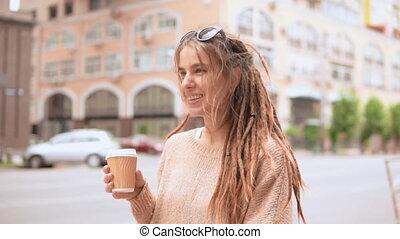 portrait hipster girl in the morning outdoors