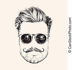 portrait, hipster, homme