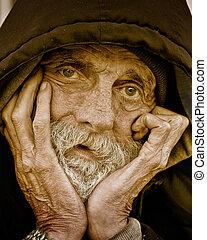 portrait-homeless, gondolkodó, ember