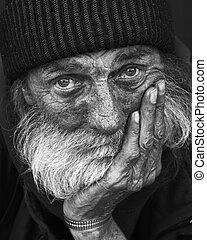 portrait-homeless, peinzend, man