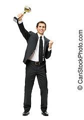 portrait, homme affaires, plein-longueur, tasse