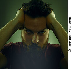 portrait, homme, beau, barbu, sérieux