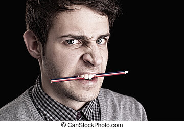 portrait, homme, crayon, jeune