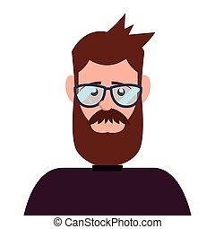 portrait, homme, hipster, caractère