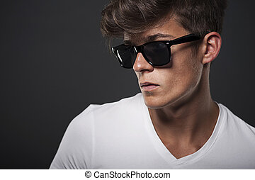 portrait, homme, hipster, lunettes