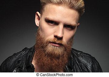 portrait, homme, jeune, barbu