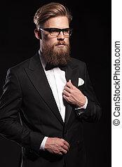 portrait, homme, jeune, business, séduisant