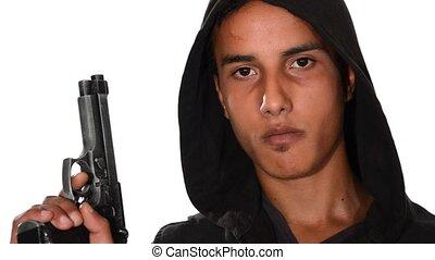 portrait, homme, jeune, fusil