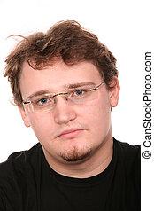 portrait, homme, jeune, lunettes