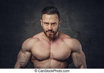 portrait, homme, sans chemise, barbu