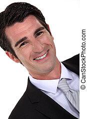 portrait, homme souriant