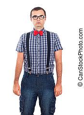 portrait, idiot, nerd, homme