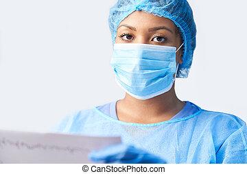 portrait, imprimer, femme, robe, monde médical, masque, ...
