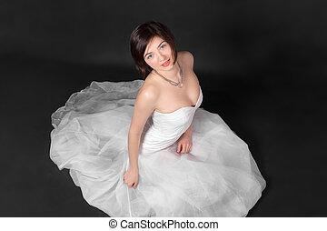 Portrait in white dress
