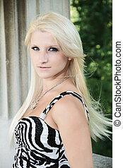 Portrait in Zebra Stripe Dress