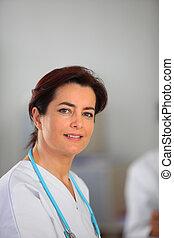 portrait, infirmière, femme