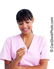 portrait, infirmière, séduisant, tenue, thermomètre