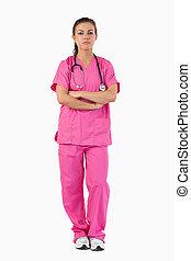 portrait, infirmière, sérieux