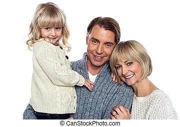 portrait, intérieur, famille, heureux
