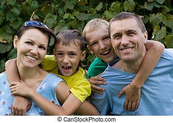 portrait, intelligent, famille