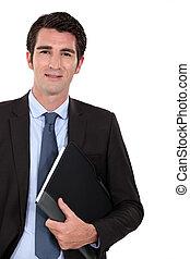 portrait, intelligent, homme affaires