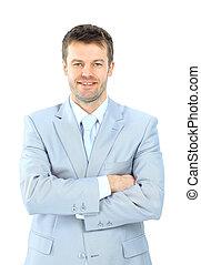 portrait, isolé, homme affaires