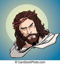 portrait, jésus, icône