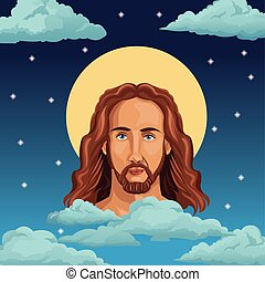 portrait jesus christ night background