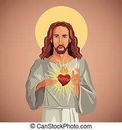 portrait jesus christ sacred heart