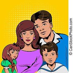 portrait, jeune famille, enfants