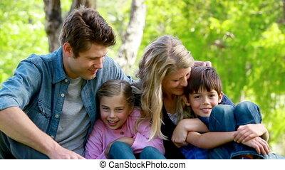 portrait, jeune famille