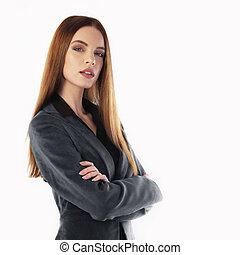 portrait, jeune, femme affaires