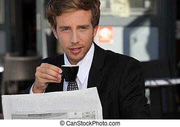 portrait, jeune, homme affaires