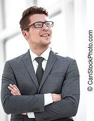 portrait, jeune, moderne, businessman.