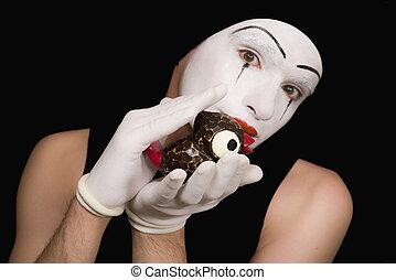 portrait, jouet, mime, oiseaux