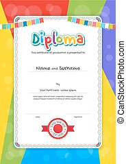 Portrait kids Diploma or certificate template with colorful background