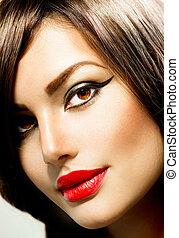 portrait., kobieta, makijaż, fason, piękno