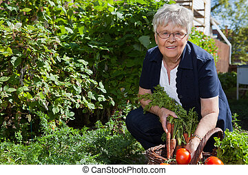 portrait, légumes, femme
