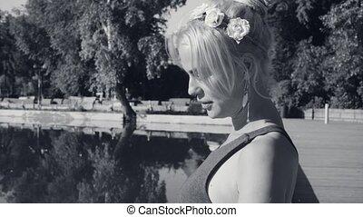 portrait, lac, femme, jeune, séance
