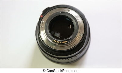 Portrait lens, view from below. Close-up - High-speed lens....