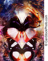 portrait Lion and Tiger face and butterfly wings, profile portrait, on colorful abstract  background.