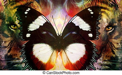 portrait Lion and Tiger face and butterfly wings, profile portrait, on colorful abstract  background
